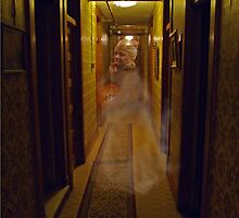Ghost in the Hallway of a Haunted Hotel  by Kim  Harris