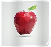 Geometric polygonal fruit, triangles, apple Poster