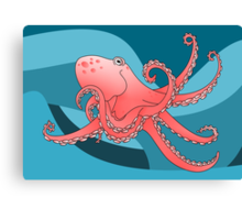 Smiling Octopus in the Blue Ocean Canvas Print