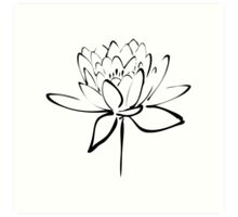 Lotus Flower Calligraphy (Black) Art Print