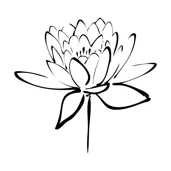 Lotus Flower Calligraphy (Black) by Makanahele