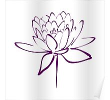 Lotus Flower Calligraphy (Purple) Poster