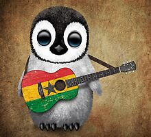 Baby Penguin Playing Ghana Flag Guitar by Jeff Bartels