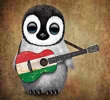 Baby Penguin Playing Hungarian Flag Guitar by Jeff Bartels