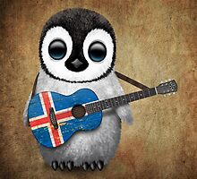 Baby Penguin Playing Icelandic Flag Guitar by Jeff Bartels