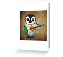 Baby Penguin Playing Irish Flag Guitar Greeting Card