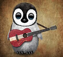 Baby Penguin Playing Latvian Flag Guitar by Jeff Bartels