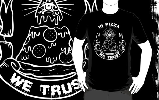 In Pizza We Trust - Black and White Version by Amy Grace