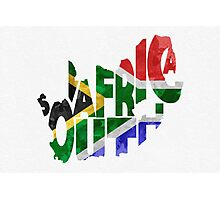 South Africa Typographic Map Flag Photographic Print