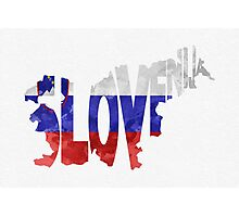 Slovenia Typographic Map Flag Photographic Print