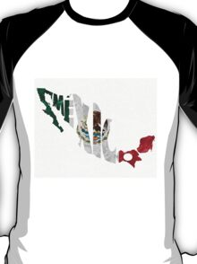 Mexico Typographic Map Flag T-Shirt