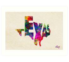 Texas Typographic Watercolor Flag Art Print