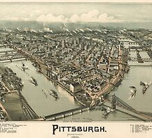 Vintage Pictorial Map of Pittsburgh (1902) by BravuraMedia