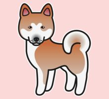 Red With White Mask Akita Dog Cartoon Kids Clothes