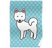 White Akita Dog Cartoon Poster