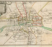 Vintage Map of Paris (1678) by BravuraMedia