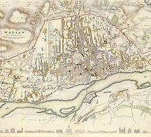 Vintage Map of Warsaw Poland (1831)  by BravuraMedia
