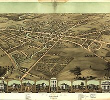 Vintage Pictorial Map of Pontiac Michigan (1867)  by BravuraMedia