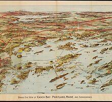 Vintage Pictorial Map of Portland Maine (1906)  by BravuraMedia