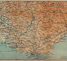 Vintage Map of Southern France (1914) by BravuraMedia