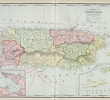 Vintage Map of Puerto Rico (1901) by BravuraMedia