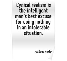 Cynical realism is the intelligent man's best excuse for doing nothing in an intolerable situation. Poster