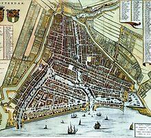 Vintage Map of Rotterdam Netherlands (1649) by BravuraMedia