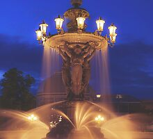 Fountain at Night by April McNett