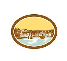 Arch Bridge Ponte Vecchio Florence Woodcut by patrimonio
