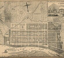 Vintage Map of Savannah Georgia (1818) by BravuraMedia