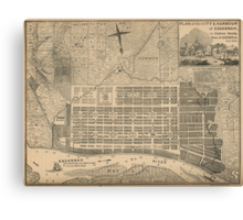 Vintage Map of Savannah Georgia (1818) Canvas Print