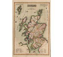 Vintage Map of Scotland (1814)  Photographic Print