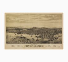 Vintage Pictorial Map of Seattle (1878) T-Shirt