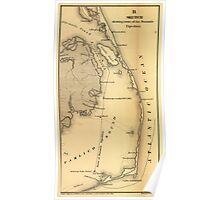 Vintage Map of The Outer Banks (1862) Poster