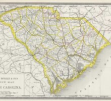 Vintage Map of South Carolina (1889) by BravuraMedia