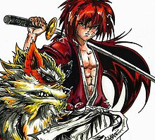 Kenshin with Arcanine  by colorblind