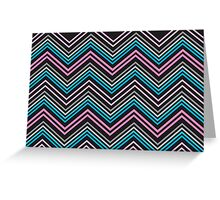 Turquoise Blue Pink Gray and Black Chevron Abstract Pattern  Greeting Card