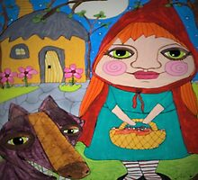 Little Red Riding Hood & Big Bad Wolf whimsical folk art by art-by-micki