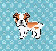 Red Piebald English Bulldog Dog Cartoon by destei