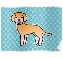 Yellow Labrador Retriever Cartoon Dog Poster