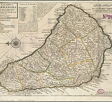 Vintage Map of Barbados (1736)  by BravuraMedia