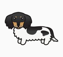 Black And Tan Piebald Long Coat Dachshund Cartoon Dog by destei