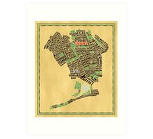 Queens New York Map Typography Art Print