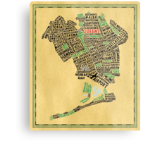 Queens New York Map Typography Metal Print