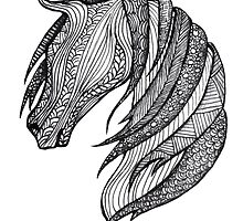 Zentangle Patterned Horse by AmandaRuthArt
