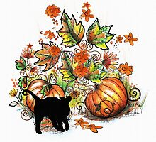 Kitty  in a Pumpkin Patch by Robin Pushe'e