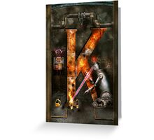 Steampunk - Alphabet - K is for Killer Robots Greeting Card