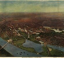Vintage Pictorial Map of Washington D.C. (1916) by BravuraMedia