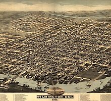 Vintage Pictorial Map of Wilmington DE (1874) by BravuraMedia