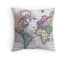 Vintage Map of The World (1780) Throw Pillow